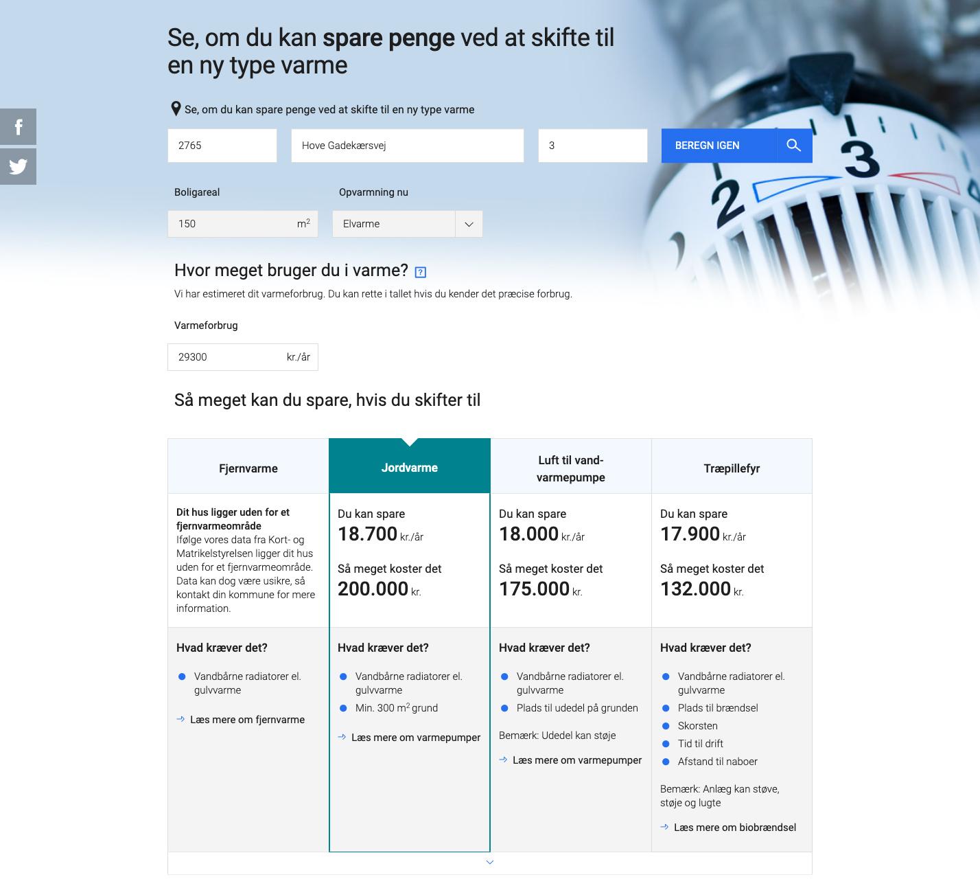 SparEnergi.dk - eksempler på beregner spare energi