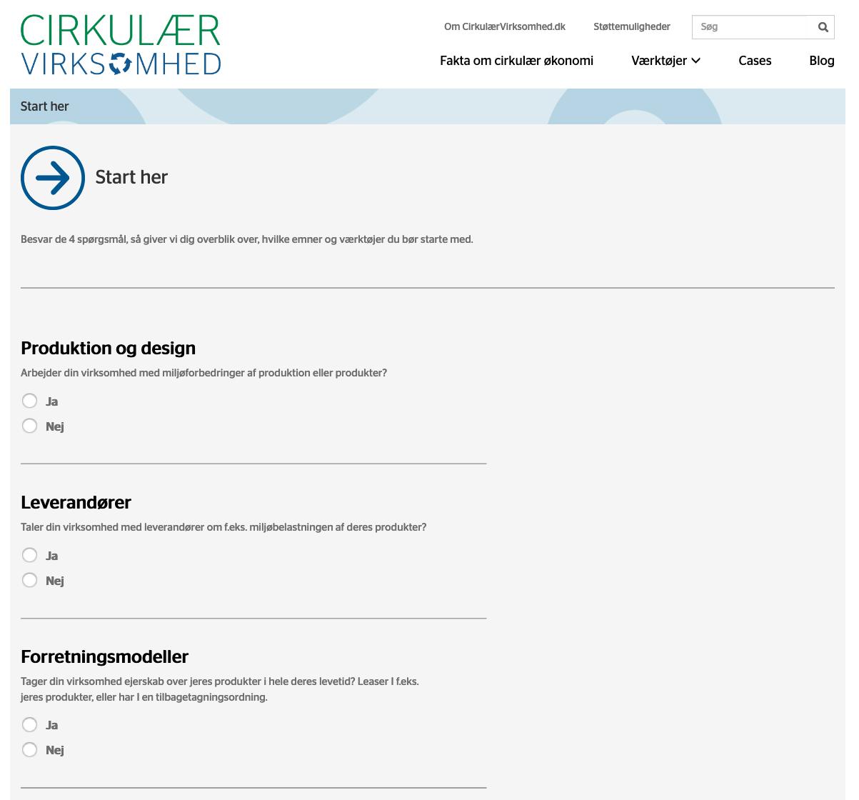 Udsnit af startværktøj på CirkVirk.dk