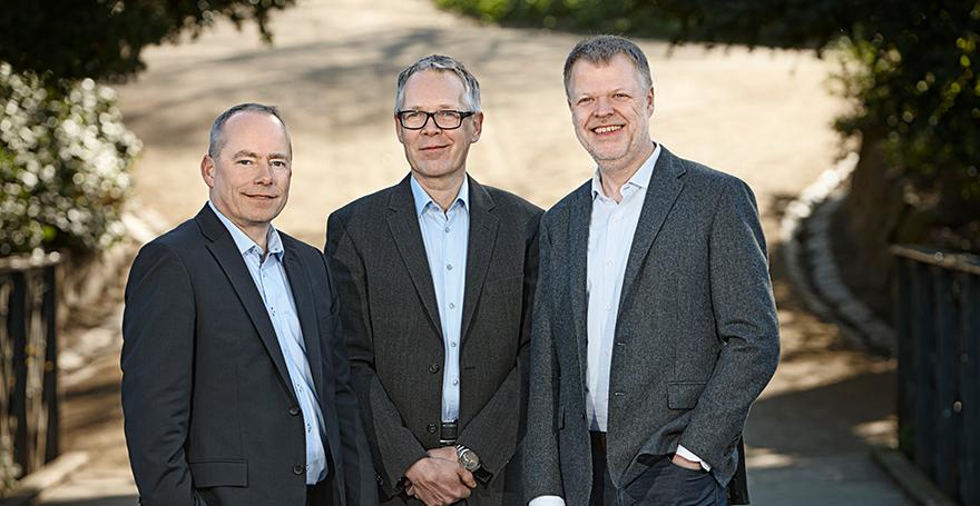 Søren Eriksen og firmaets to grundlæggere Peter Maagøe og Jan Viegand